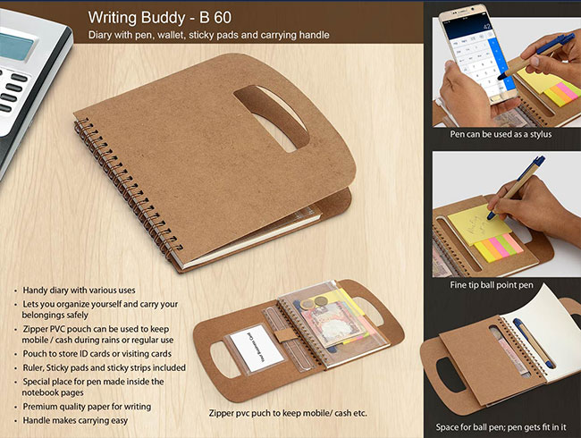 Writing buddy: Diary with pen, wallet, sticky pads and carrying handle (60 sheets) - B60