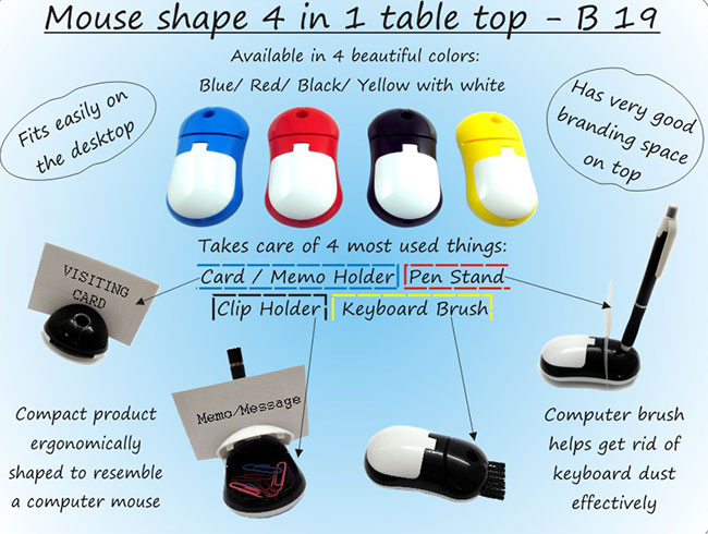 Mouse shape 4 in 1 table top (with pen holder, memo holder, paper clip holder & keyboard cleaning brush) - B19