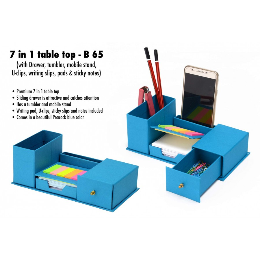 B65 - 7 in 1 table top with drawer, tumbler, Mobile stand, U-clips, writing slips, pads and sticky notes