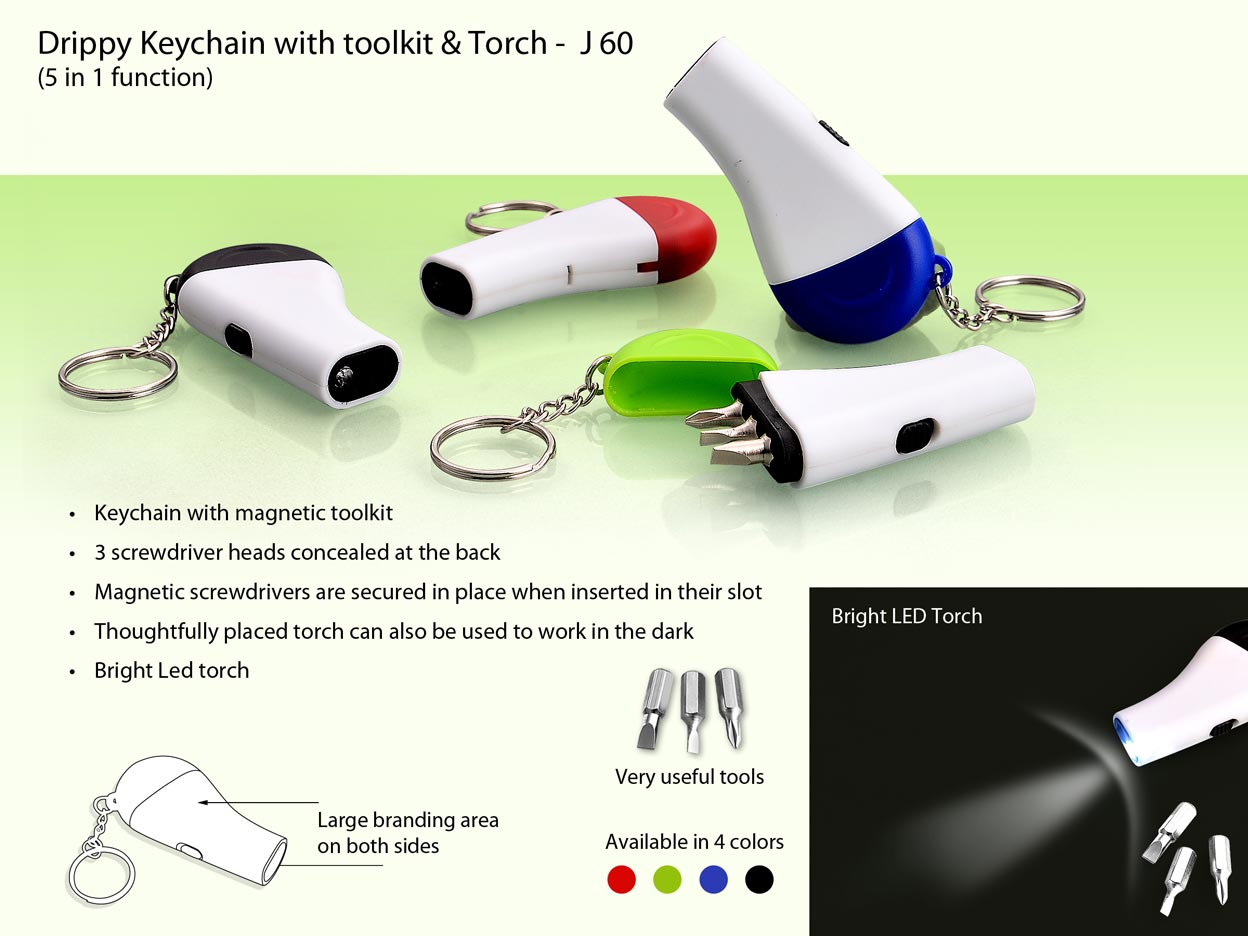 J60 - Drippy Keychain with toolkit & Torch (5 in 1)