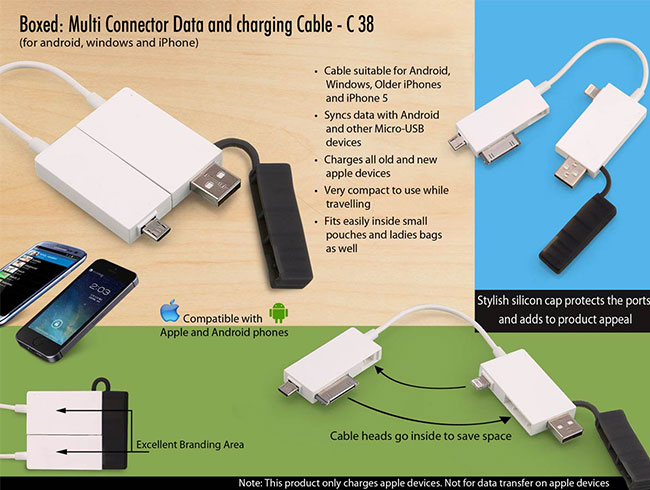 Boxed: Multi connector Data and charging cable -C38