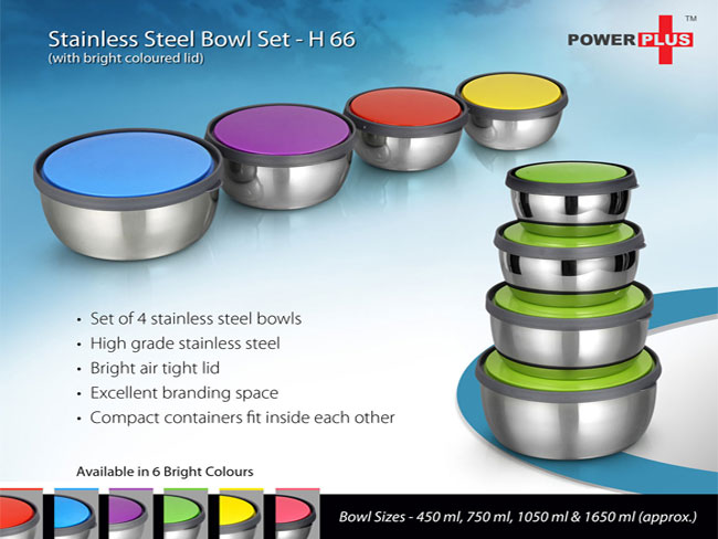 H66 - STAINLESS STEEL BOWL SET (SET OF 4) (WITH BRIGHT COLORED LIDS)