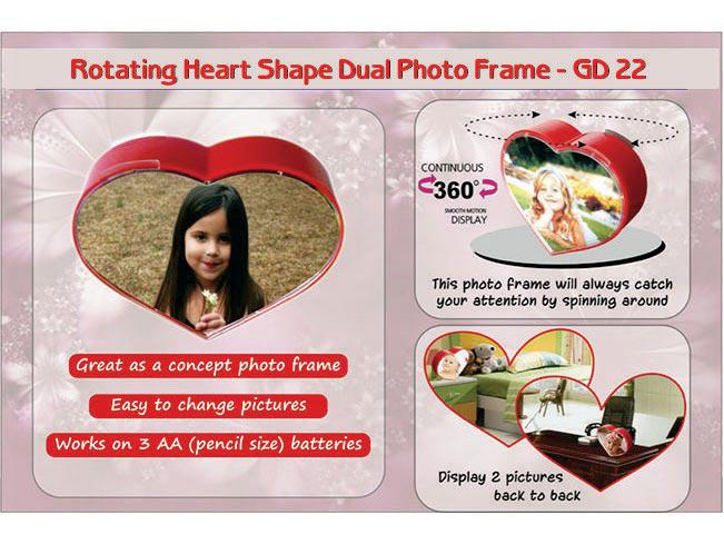 GD22 - Rotating heart shape dual photo frameGD22