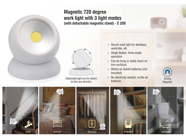 Magnetic 720 degree work light with 3 light modes (with detachable magnetic stand) - E208