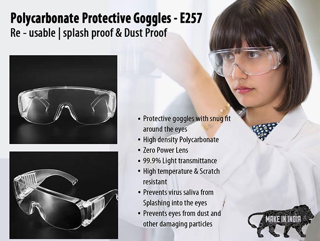 Polycarbonate Re-usable Protective Goggles | Splash proof & Dust Proof - E257