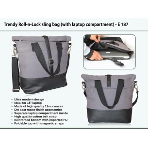 E 187 - Trendy Roll-n-Lock Sling bag (with Laptop compartment)