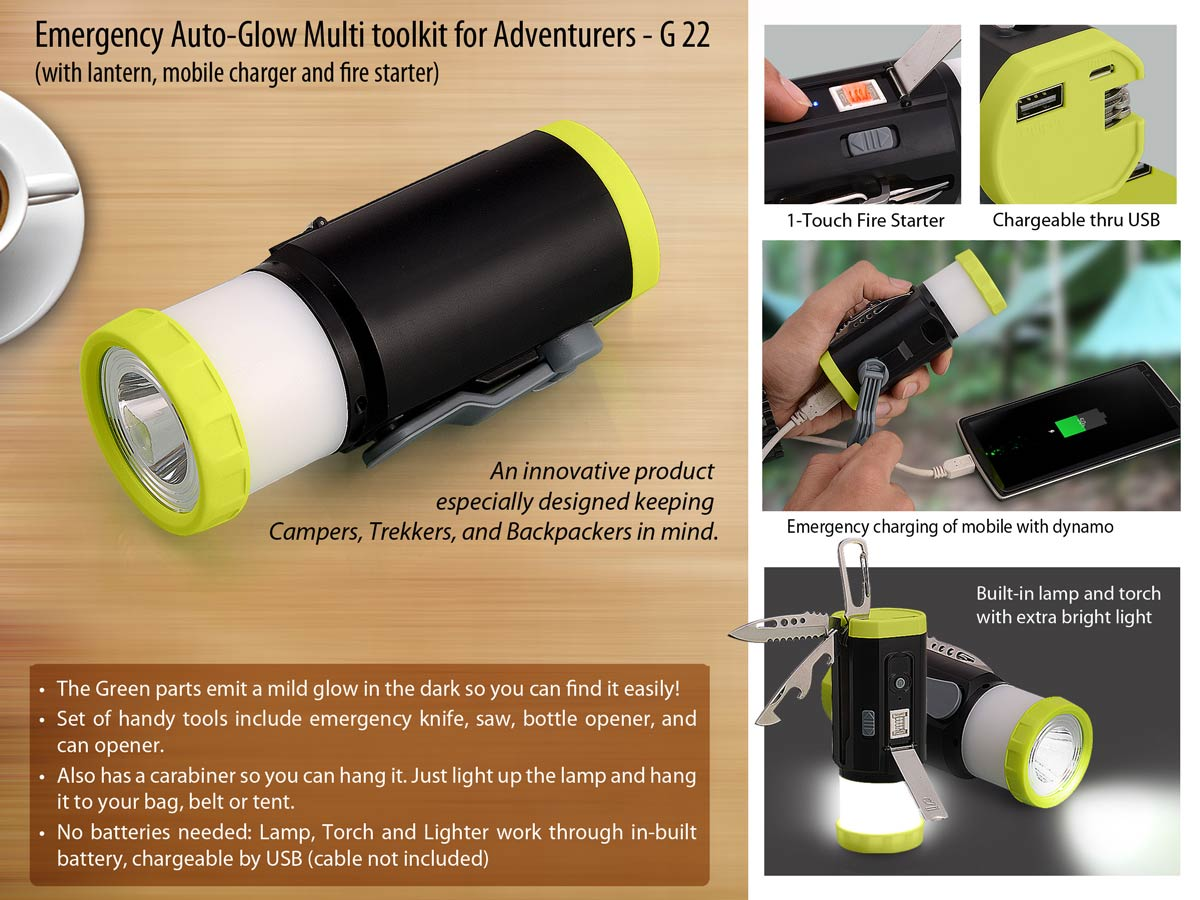 G22 - EMERGENCY AUTO-GLOW MULTI TOOLKIT FOR ADVENTURERS (WITH LANTERN, DYNAMO MOBILE CHARGER AND FIRE STARTER)