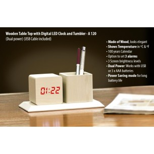 A120 - Wooden Tabletop with Digital LED Clock and tumbler (Dual power) (USB Cable included)
