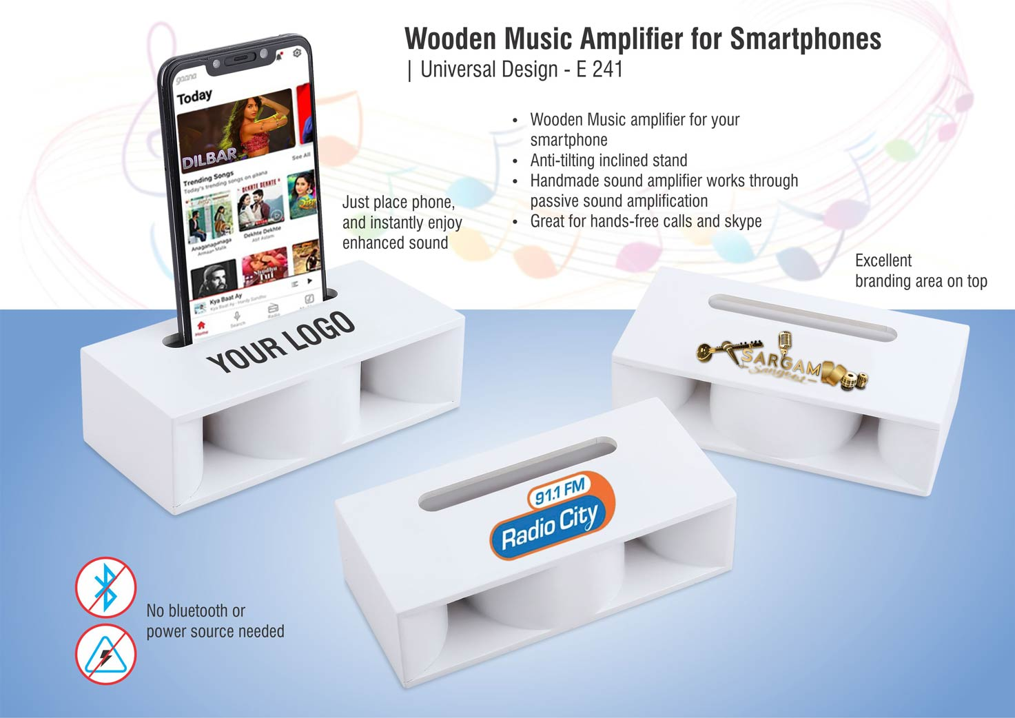 E241 - Wooden Music Amplifier for Smartphones | Universal Design (printing included MOQ 100 pc)