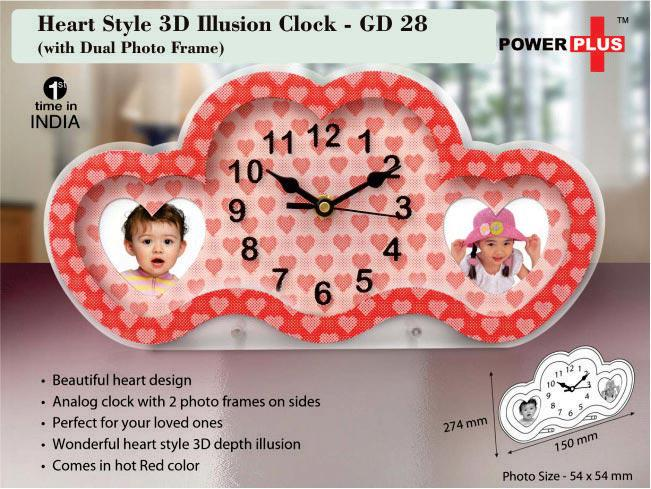 GD28 - Heart style 3D illusion clock with dual photo frame