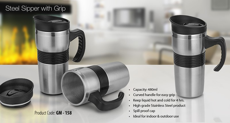 GM- 158 Steel Sipper with Grip