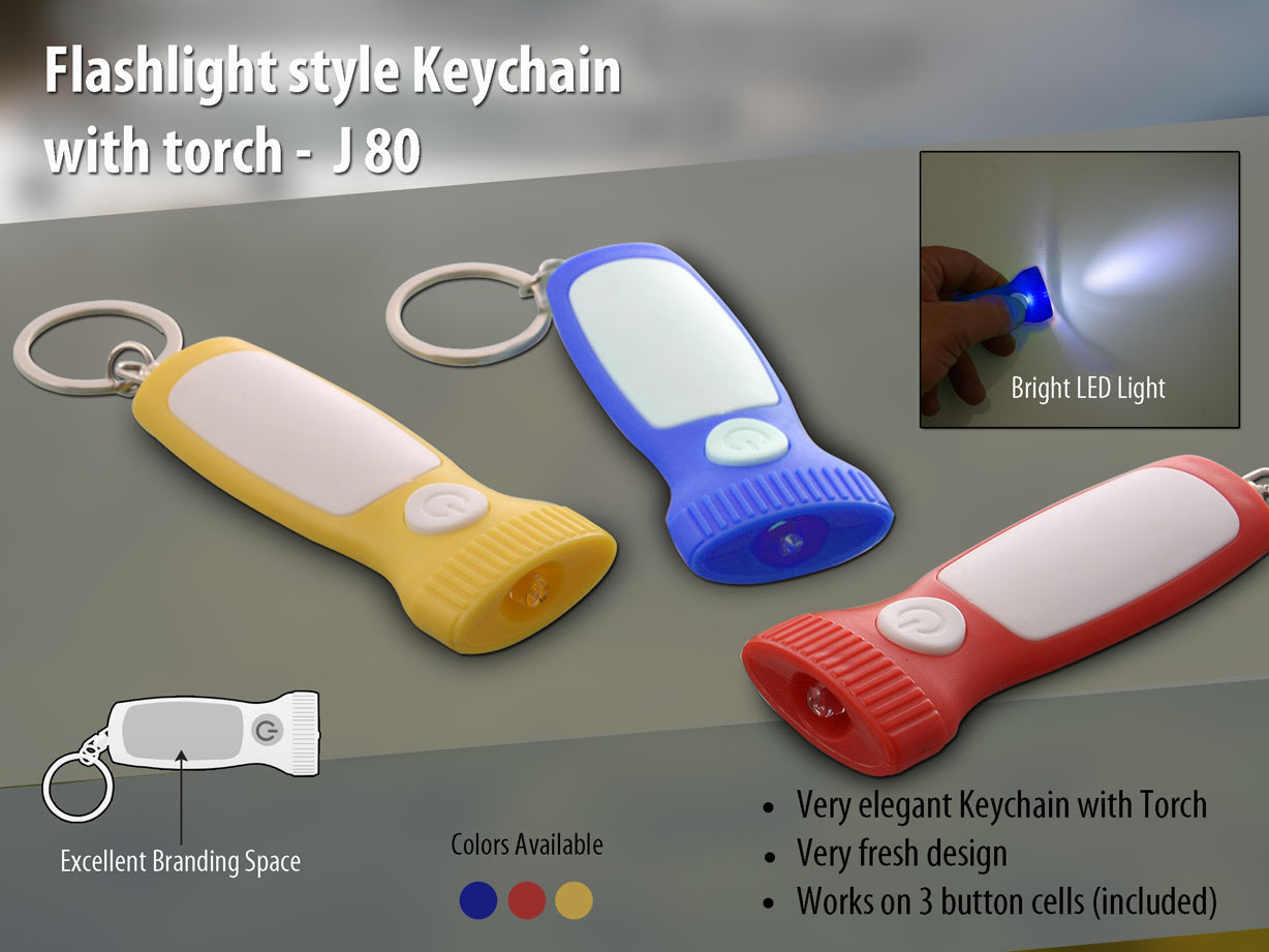 J80 - Flashlight style Keychain with torch