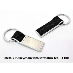 J100 - Metal / PU keychain with soft fabric feel