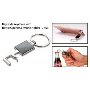 J103 - Key style keychain with bottle opener and phone holder