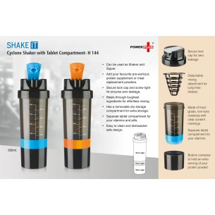 H144 - SHAKE IT CYCLONE SHAKER WITH TABLET COMPARTMENT