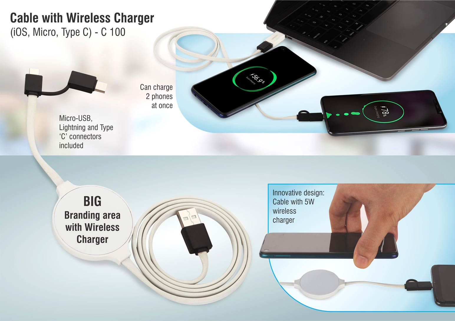 C100 - Cable with Wireless Charger (iOS, Micro, Type C)