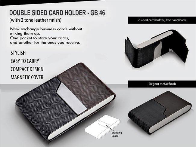 GB46 - Double side card holder (Two tone leather finish)