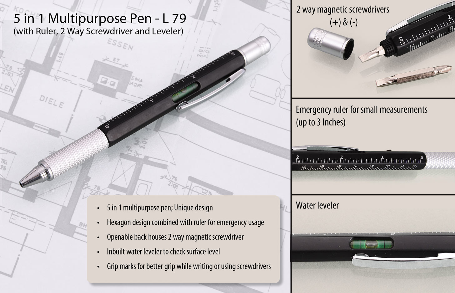 L79 - 5 in 1 Pen with ruler, 2 way screwdriver and leveler
