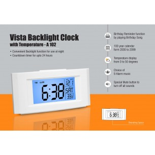 A102 - Vista Backlight clock with Temperature
