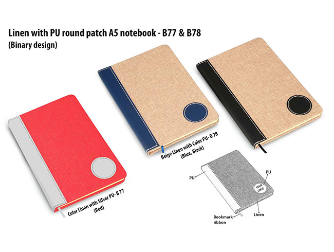 Colored Linen with PU round patch A5 notebook (Binary design) - B77