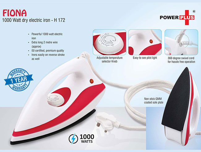 Fiona: 1000 Watt dry electric iron by Power Plus | 1 year warranty - H172
