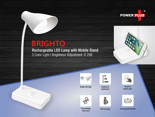Brighto Rechargeable LED lamp with mobile stand | 3 Color light | Brightness adjustment - E246