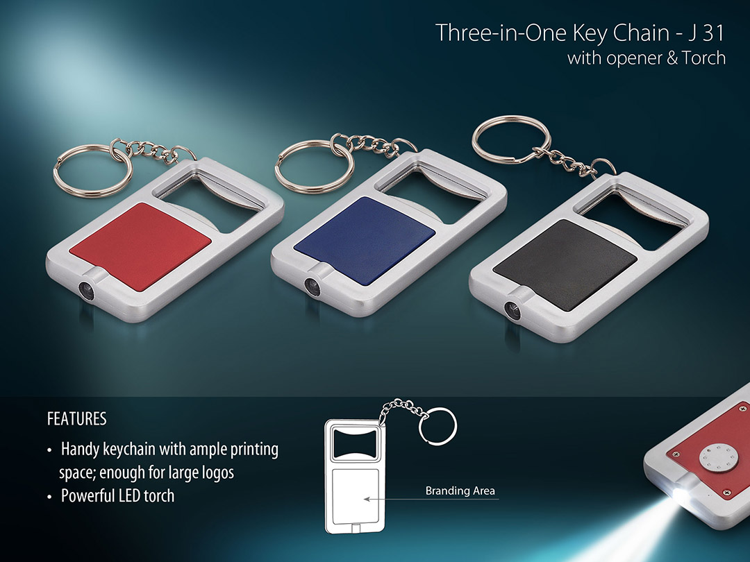 J31 - 3 in 1 Key chain with opener and torch (rectangle)