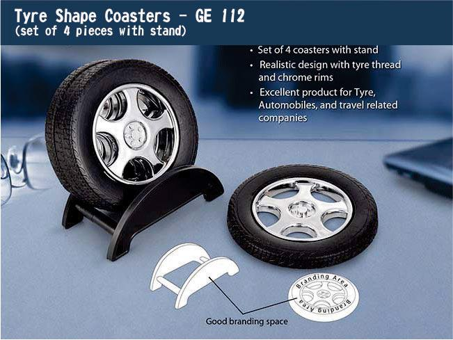 GE112 - Tyre shape coaster set with stand (4 pcs)