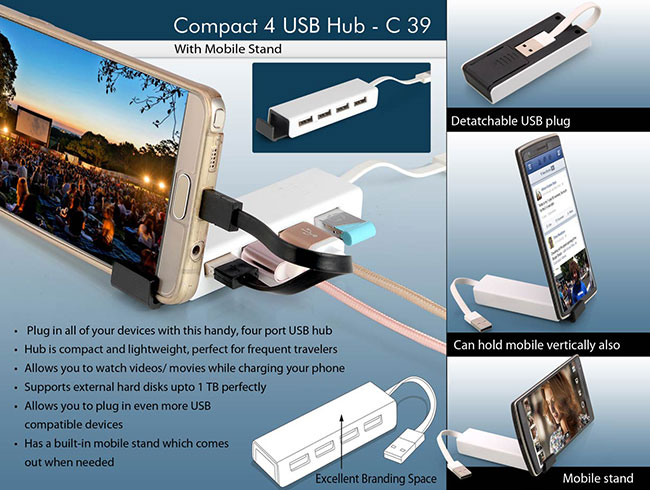 Compact 4 USB hub with Mobile Stand - C39