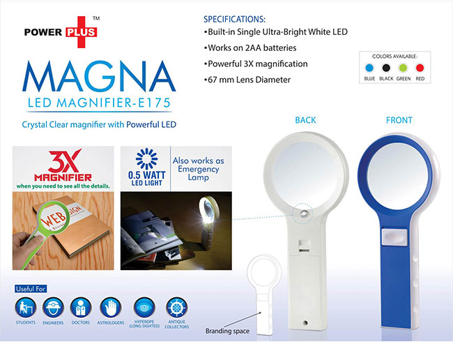 Power Plus Magna: Magnifier With Lamp Function( With Half Watt LED) - E175