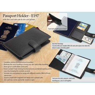 E197 - Passport Holder with sim card safe case & sim card jackets