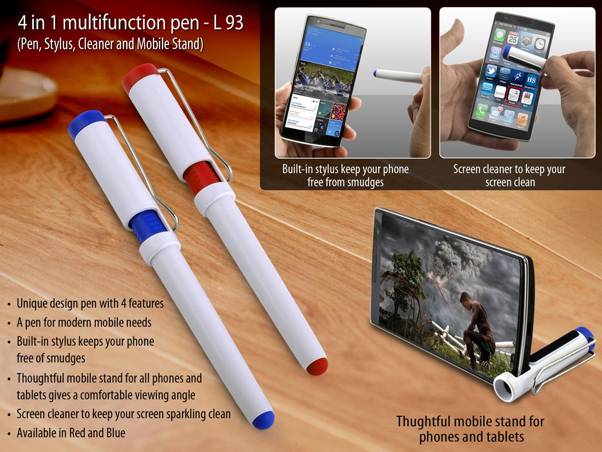 L93 - 4 in 1 multifunction pen (Pen, Stylus, Cleaner and Mobile Stand)