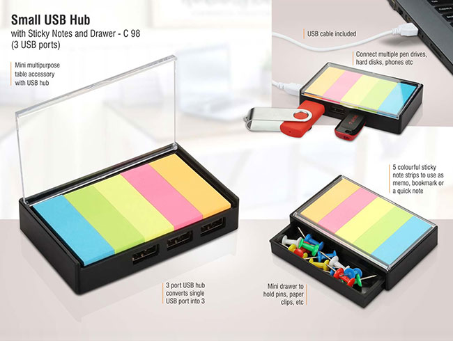 Small USB hub with sticky notes and drawer | 3 USB ports - C98
