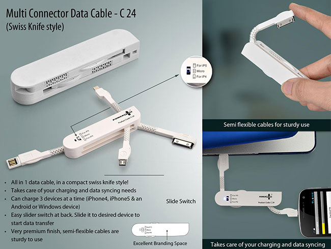 Multi Connector Data Cable set (Swiss Knife style) - C24