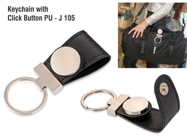 J105 - KEYCHAIN WITH CLICK BUTTON PU