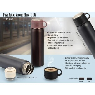 H134 - PUSH BUTTON VACUUM FLASK WITH CUP (500 ML)