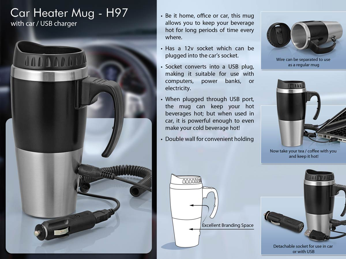 H97 - Car heater mug: with car / USB charger