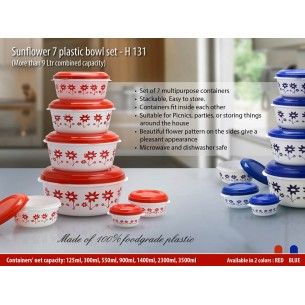 H131 - Sunflower 7 plastic bowl set
