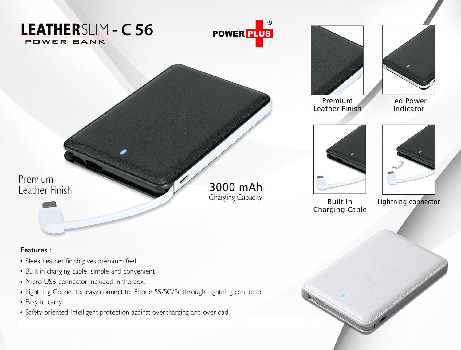 C56 - SLIM LEATHER POWER BANK (3,000 MAH)