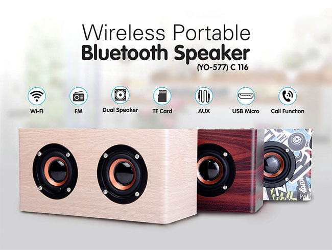Wooden Bluetooth Double speaker | with USB / TF card / Aux / FM / Mic in (YO  577) - C116