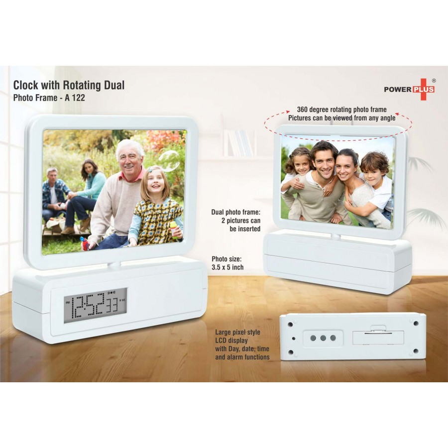 A122 - Clock with rotating dual photo frame | 3.5 x 5 size