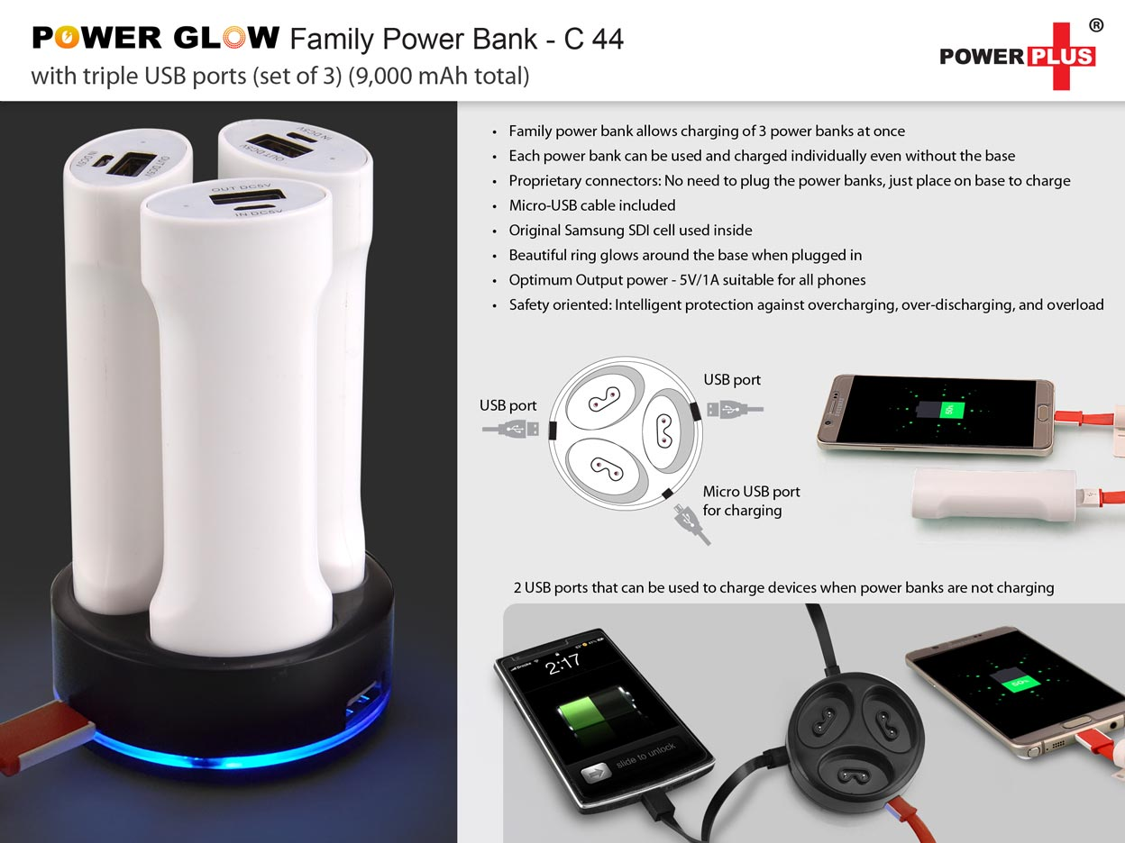 C44 - POWER GLOW FAMILY POWER BANK WITH TRIPLE USB PORTS (SET OF 3) (9,000 MAH TOTAL)