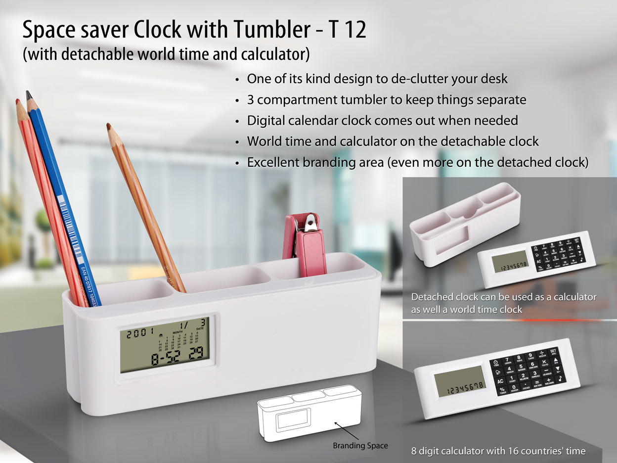 T12 - Space saver Clock with Tumbler (with detachable world time calculator)
