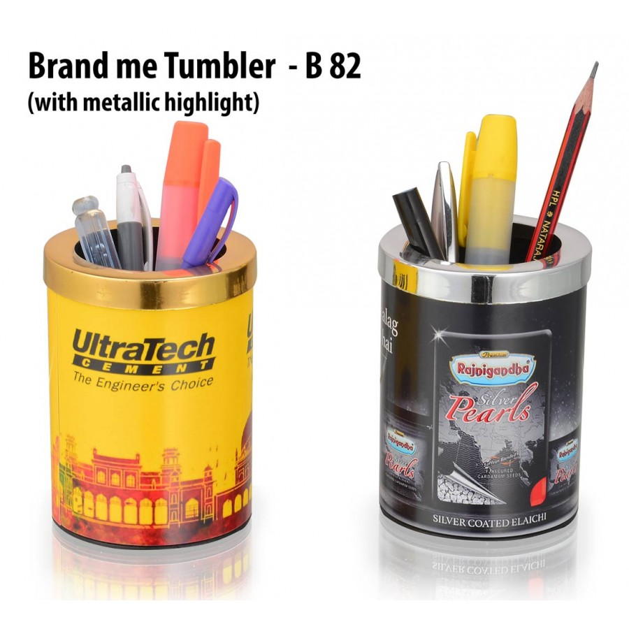 B82 - BRAND ME TUMBLER WITH METALLIC HIGHLIGHT (BRANDING INCLUDED) (MOQ: 200)