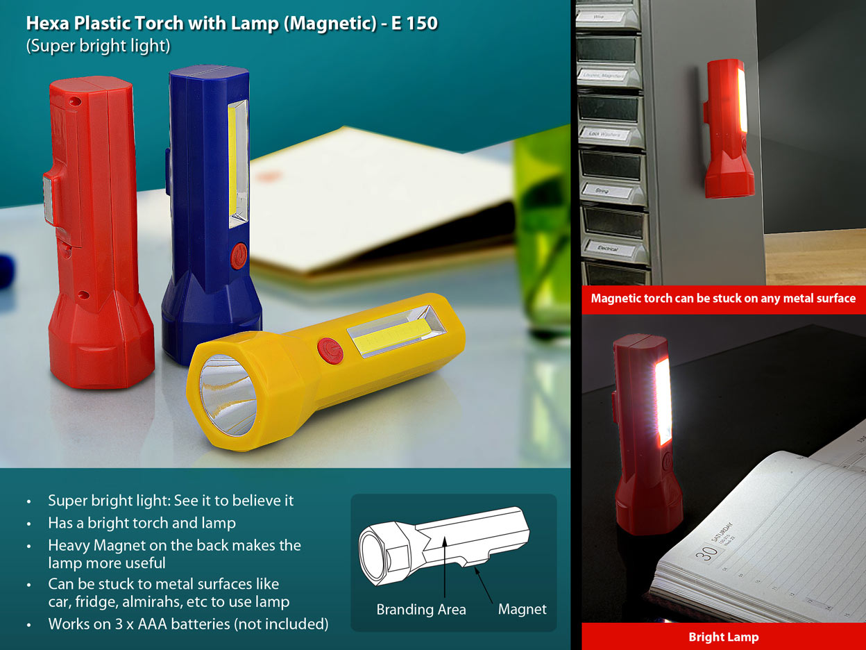 E150 - Hexa plastic torch with lamp (magnetic)