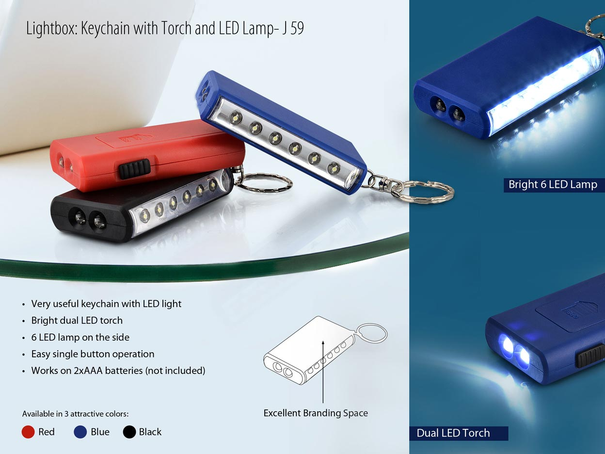 J59 - Lightbox: Keychain with Torch & LED Lamp