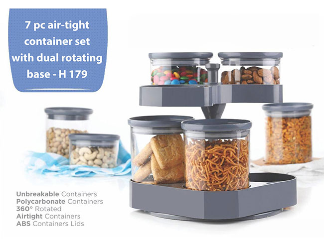 7 pc air-tight container set with dual rotating base - H179