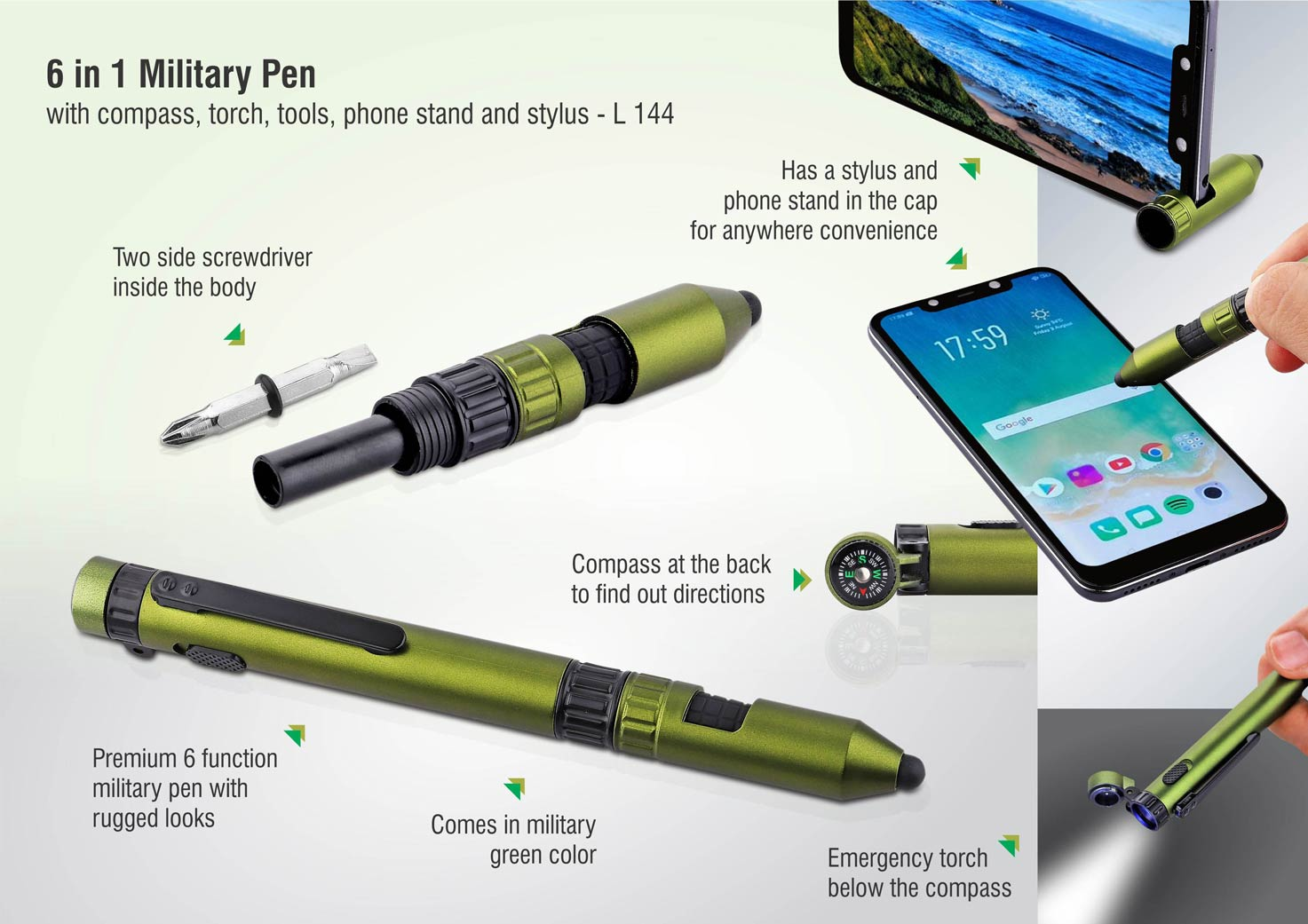 L144 - 6 in 1 Military pen with compass, torch, tools, phone stand and stylus