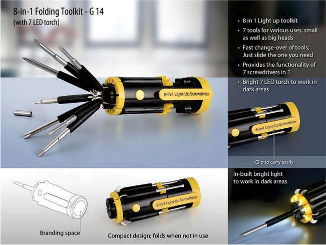 G14 - 8-in-1 Folding Toolkit (with 7 LED torch)