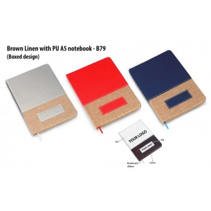 B79 - Brown Linen with PU A5 notebook (Boxed design)